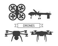 Set Drone Icons Isolated Unmanned Aerial Vehicle Royalty Free Stock Photo