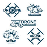 Set of drone quadrocopter logo template. Set of quadrocopter  theme logo template. Vector emblems collection.  on white background Stock Images