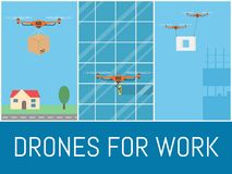 Set of drones with remote control. Drone for delivery, washing, construction. Flying over city. Flat banner, vector. Illustration Royalty Free Stock Images