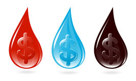 Set of drops with dollar sign Stock Image