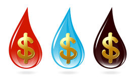Set of drops with dollar sign Stock Photography