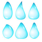 Set drops of water diffirent forms  on white background. Vector Illustration water and rain drops in blue colors Stock Photos