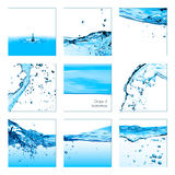 Set of Drops and Waterlines. Healthy Fresh Water Stock Photo
