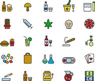 Set of drug and addiction icons. Illustrated set of drug and addiction web icons on a white background Royalty Free Stock Photo