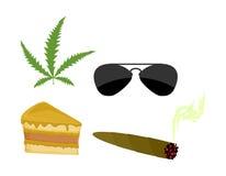 Set of drugs. Accessories addict. Marijuana and cannabis. Sungla Stock Photo