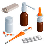 Set of drugs and medicines for the treatment of cold or flu Stock Image