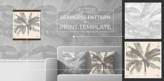 Set druki i bezszwowi wzory dla wewnętrznej dekoraci Bezszwowy wzór od palmy opuszcza dla drukować na poduszkach, tapeta, fotografia royalty free