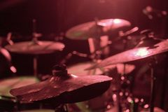 Set of drum plates, one of them very broken stock photography