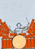A set of drums with drummer. Vector image of a large drum kit and drummer Stock Image