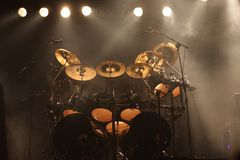 Set of drums on stage Royalty Free Stock Photography