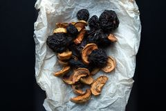 A set of dry smoked fruits for a traditional Russian drink - compote stock photos