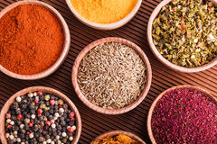 Set dry spices in a wooden bowl close-up Stock Photography