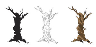 Set of dry trees cartoon Stock Photo