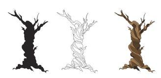 Set of dry trees cartoon Stock Photo