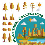 Set Drzewa i krzaki Mieszkanie, gry, app również zwrócić corel ilustracji wektora odosobniony Fotografia Stock