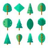 Set drzewa w modnym mieszkanie stylu Zieleni ulistnienie lasu elementy royalty ilustracja