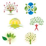 Set Drzewne natury ulistnienia ikony dla loga projekta ilustracji