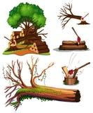 Set drzewo Ciie royalty ilustracja