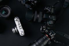 Set dslr lense i kamery fotografia stock