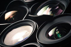Set of DSLR lenses, different sizes and Royalty Free Stock Image