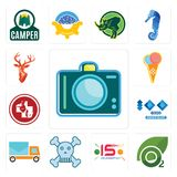 Set of dslr, oxygen, 15 years celebration, skull and crossbones, post car, 100 year anniversary, veterinary medicine, icecream, st. Set Of 13 simple  icons such Royalty Free Stock Photo