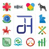 Set of dth, continuous improvement, non smoking, acupressure, soy free, fantasy baseball, knight on horseback, 111, ashok chakra i. Set Of 13 simple  icons such Royalty Free Stock Photo