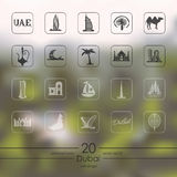 Set of Dubai icons. For mobile interface on blurred background Royalty Free Stock Photo