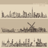 Set Dubai Madrid Amsterdam Vintage Engraved Sketch Stock Images