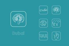 Set of Dubai simple icons Royalty Free Stock Photography