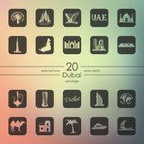 Set Dubaj ikony Obrazy Stock