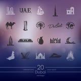 Set Dubaj ikony Obraz Stock