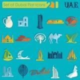Set Dubaj ikony Fotografia Royalty Free
