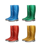 Set of dubber boots. Vector set of blue, red, green, yellow rubber boots isolated on white background royalty free illustration