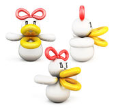 Set of duck twisted balloons  on white background. 3d illustration Stock Photo
