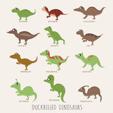 Set of Duckbilled dinosaurs Stock Photography