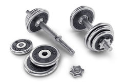 Set of dumbbell for fitness Stock Photos