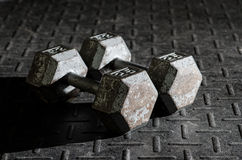 Set of dumbbells on the floor Stock Image
