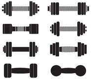 A set of dumbbells isolated on white background Stock Photo