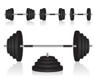 Set of dumbbells weights Royalty Free Stock Images