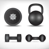A set of dumbbells  on white background Royalty Free Stock Photos