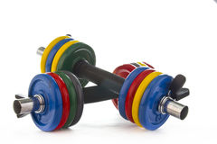 Set of dumbbells on white background Royalty Free Stock Photo