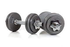 Set of dumbells on  white Royalty Free Stock Photography