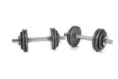 Set of dumbells on white. A set of dumbells on a white background Royalty Free Stock Image