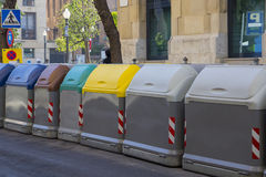 Set of dumpsters for rubbish recycling Stock Image