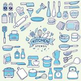Set of duotone colored kitchen utensil. Over light green background royalty free illustration