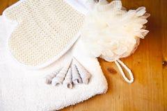 set dusch för badlyx Arkivfoto
