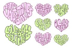 Set Duzi serca z literowaniem o miłości, typografia plakat dla walentynka dnia, karty, druki Obraz Royalty Free