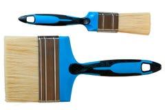 Set dwa błękitów farby muśnięcie odizolowywający Fotografia Stock
