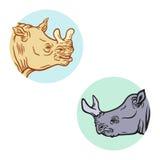 Set dwa brontotheriums głowy ilustracja wektor