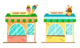 Set dwa cukierku sklepu z półcyrkłowym okno w jaskrawych kolorach na białym tle Mieszkanie stylowa ilustracja ilustracji